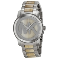 Michael Kors Runway MK5787 Ladies Silver with Alabaster Acetate center and MK logo Fashion Watches