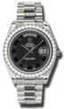 Rolex Day-Date II 218349BKCAP Mens Black Concentric Casual Watches