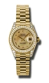 Rolex Lady Datejust 179158CMRP 18k Yellow Gold Diamond Encrusted Luxury Watches