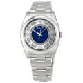 Rolex Oyster Perpetual No Date 116000SABLSAO Mens Silver with Blue Luxury Watches